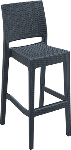 Compamia Jamaica Resin Wickerlook Barstool Dark Gray ISP866-DG - RestaurantFurniturePlus + Chairs, Tables and Outdoor - 1