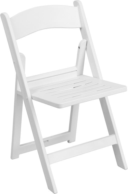 1000 lb. Capacity White Resin Folding Chair with Slatted Seat
