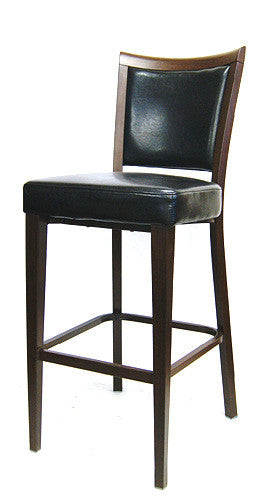Wood Grain Metal Frame Bar Stool w/Black Vinyl