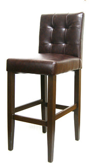Wood Grain Metal Frame Bar Stool w/ Cognac color vinyl