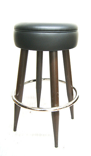Black vinyl / Wood Grain Metal Frame Bar Stool