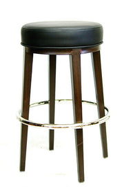 Black vinyl / Wood Grain Metal Frame Bar Stool (Walnut)