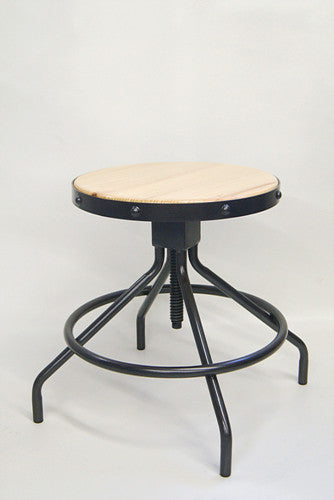 Adjustable Bar Stool with Natural Pinewood Seat