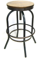 Adjustable Seat Metal and Solid Wood Bar Stool