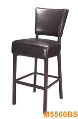 Durable Wood Grain Metal Frame Bar Stool w/ Espresso Vinyl