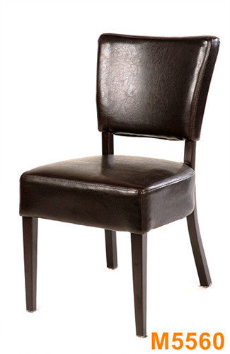 Durable Wood Grain Metal Frame Chair w/Espresso Vinyl