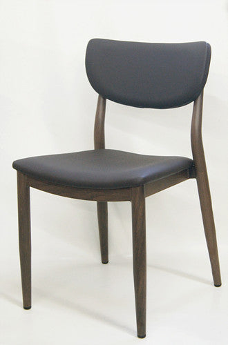 Espresso Durable Wood Grain Metal Frame Chair