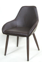 Brown Vinyl Chair with Durable Wood Grain Metal Frame