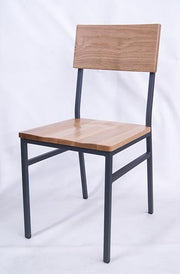 Natural Oak Industrial Style Chair with Black Metal Frame