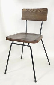 Wood and Metal Side Chair in Walnut Color