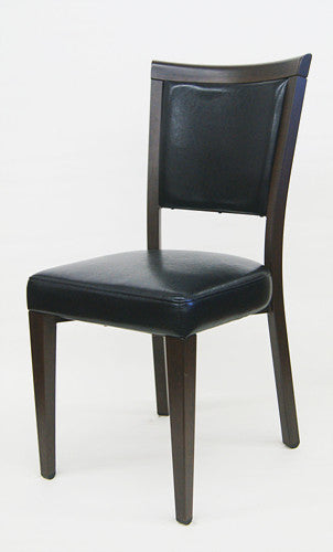 Wood Grain Metal Frame Chair w/ Black vinyl