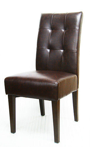 Durable Wood Grain Metal Frame Chair w/ Cognac color vinyl