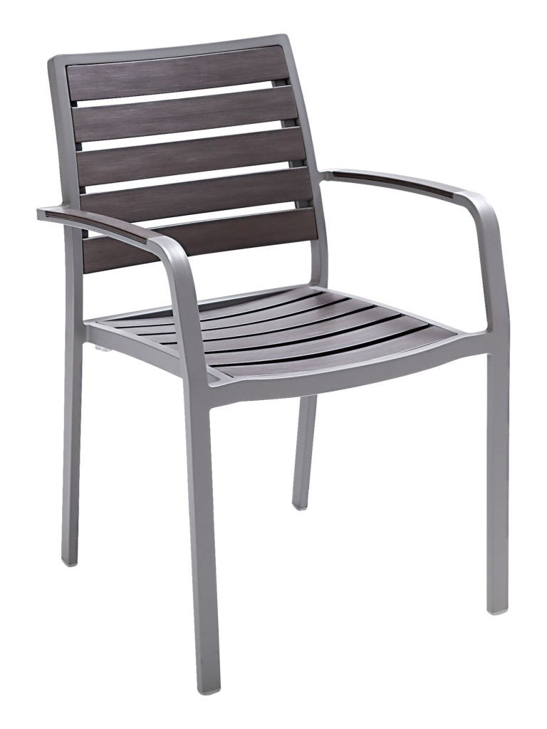 FS Aluminum Frame Armchair With Faux Teak Back