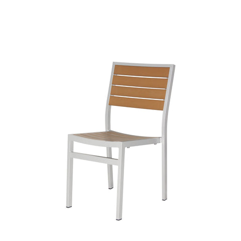 Napa Dining Side Chair (Silver & Teak) - YourBarStoolStore + Chairs, Tables and Outdoor