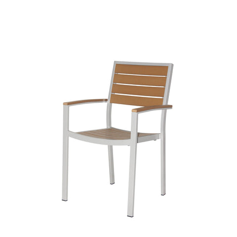 Napa Dining Arm Chair (Silver & Teak) - YourBarStoolStore + Chairs, Tables and Outdoor  - 1