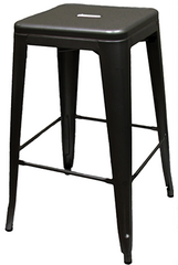 XL Tolix Style Backless Bar Stool - Black