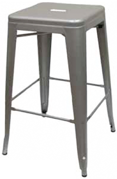 XL Tolix Style Backless Bar Stool - Silver