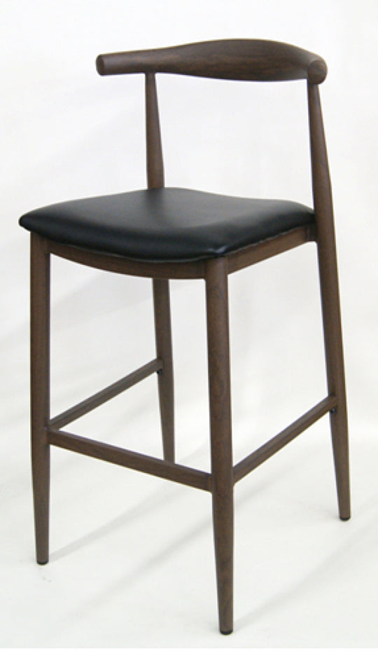 Mid-Century Modern Wood Grain Metal Frame Bar Stool