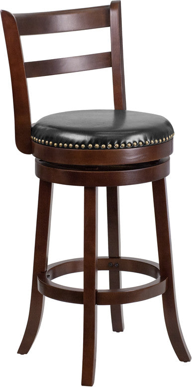 30'' Cappuccino Wood Barstool with Black Leather Swivel Seat