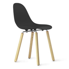 TA Side Chair with Natural Oak Yi Base & Black Seat