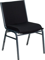 Heavy Duty, 3'' Thickly Padded, Black Patterned Upholstered Stack Chair with Ganging Bracket