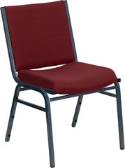 Heavy Duty, 3'' Thickly Padded, Burgundy Patterned Upholstered Stack Chair with Ganging Bracket