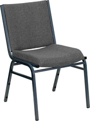 Heavy Duty, 3'' Thickly Padded, Gray Upholstered Stack Chair with Ganging Bracket