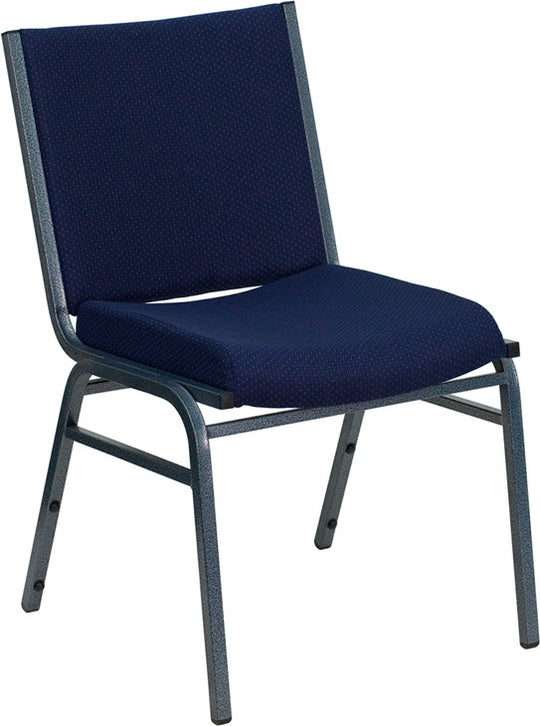 Heavy Duty, 3'' Thickly Padded, Navy Blue Patterned Upholstered Stack Chair with Ganging Bracket