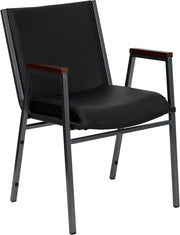 Heavy Duty, 3'' Thickly Padded, Black Vinyl Upholstered Stack Chair with Arms and Ganging Bracket