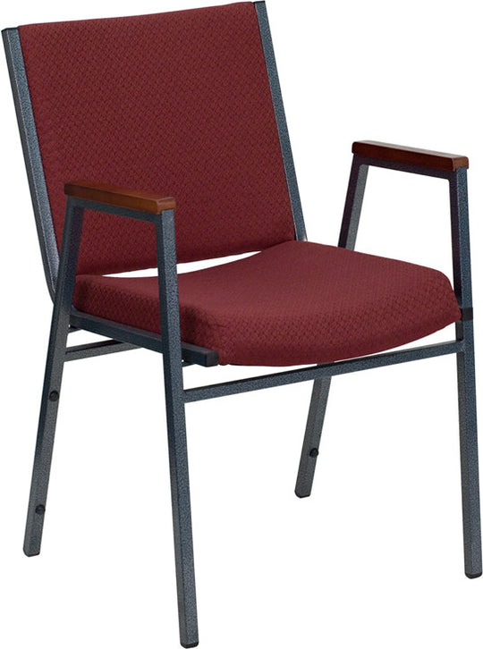Heavy Duty, 3'' Thickly Padded, Burgundy Patterned Upholstered Stack Chair with Arms and Ganging Bracket
