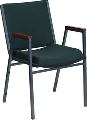 Heavy Duty, 3'' Thickly Padded, Green Patterned Upholstered Stack Chair with Arms and Ganging Bracket