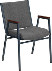 Heavy Duty, 3'' Thickly Padded, Gray Upholstered Stack Chair with Arms and Ganging Bracket