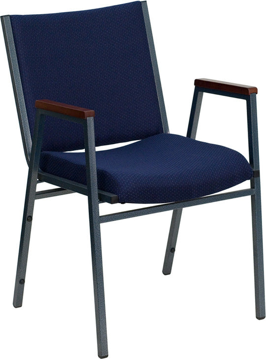 Heavy Duty, 3'' Thickly Padded, Navy Patterned Upholstered Stack Chair with Arms and Ganging Bracket