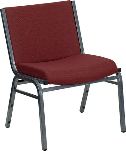 1000 lb. Capacity Big and Tall Extra Wide Burgundy Fabric Stack Chair with Ganging Bracket