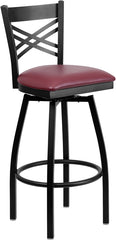 Black ''X'' Back Swivel Metal Bar Stool - Burgundy Vinyl Seat