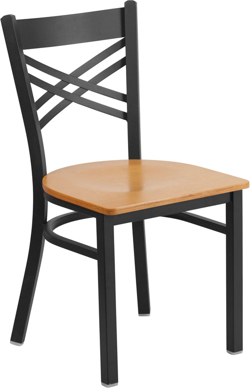 Black ''X'' Back Metal Restaurant Chair - Wood Seat