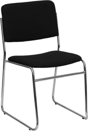 1000 lb. Capacity Black Fabric High Density Stacking Chair with Chrome, Metal Sled Base