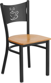 Black Coffee Back Metal Restaurant Chair - Natural Wood Seat