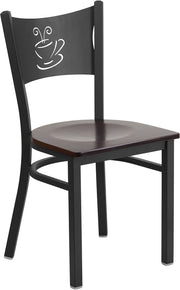 Black Coffee Back Metal Restaurant Chair - Walnut Wood Seat