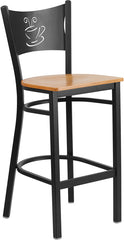 Black Coffee Back Metal Restaurant Bar Stool - Natural Wood Seat