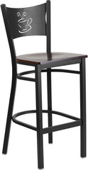 Black Coffee Back Metal Restaurant Bar Stool - Walnut Wood Seat