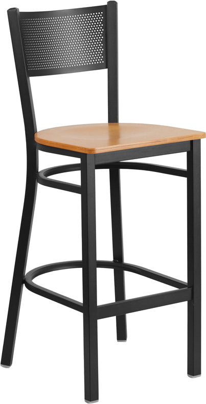 Black Grid Back Metal Restaurant Bar Stool - Natural Wood Seat