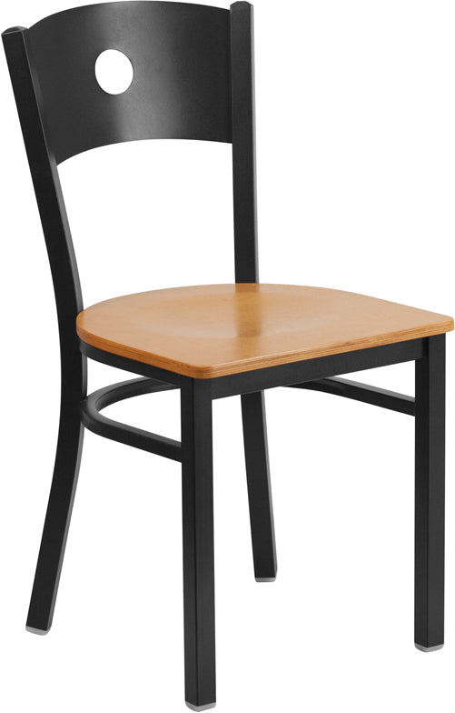 Black Circle Back Metal Restaurant Chair - Natural Wood Seat