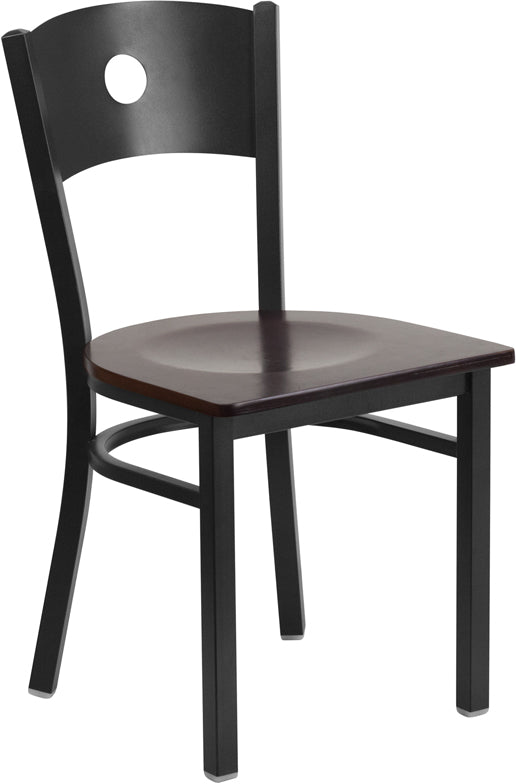 Black Circle Back Metal Restaurant Chair - Walnut Wood Seat