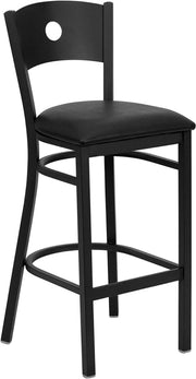 Black Circle Back Metal Restaurant Bar Stool - Black Vinyl Seat