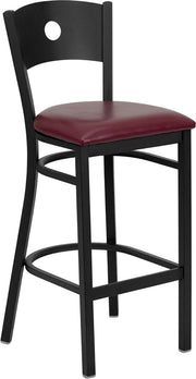 Black Circle Back Metal Restaurant Bar Stool - Burgundy Vinyl Seat
