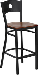 Black Circle Back Metal Restaurant Bar Stool - Cherry Wood Seat