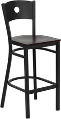 Black Circle Back Metal Restaurant Bar Stool - Mahogany Wood Seat
