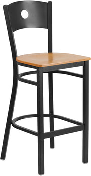 Black Circle Back Metal Restaurant Bar Stool - Natural Wood Seat