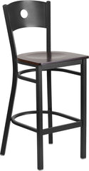 Black Circle Back Metal Restaurant Bar Stool - Walnut Wood Seat